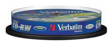 Диск CD-RW Verbatim 700Mb 12x Cake Box (10шт) (43480)